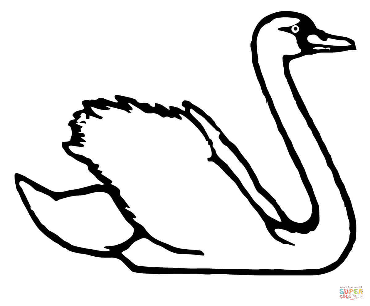 swan outline drawings cartoon clipart of an outlined swimming swan black and drawings swan outline