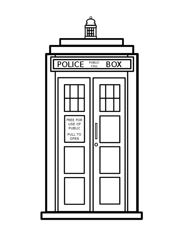 Tardis colouring pages