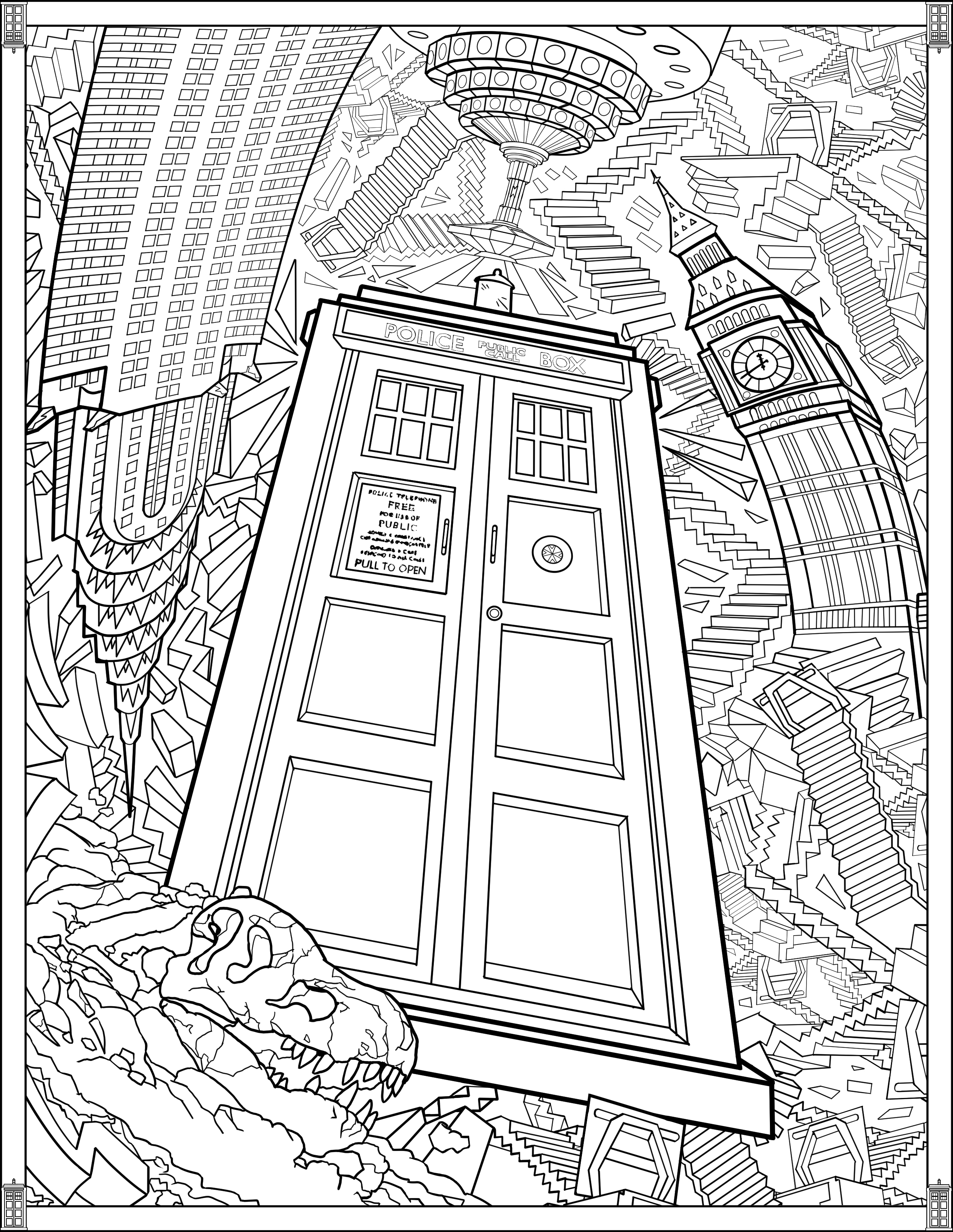 tardis colouring pages tardis vector outline at getdrawings free download pages colouring tardis