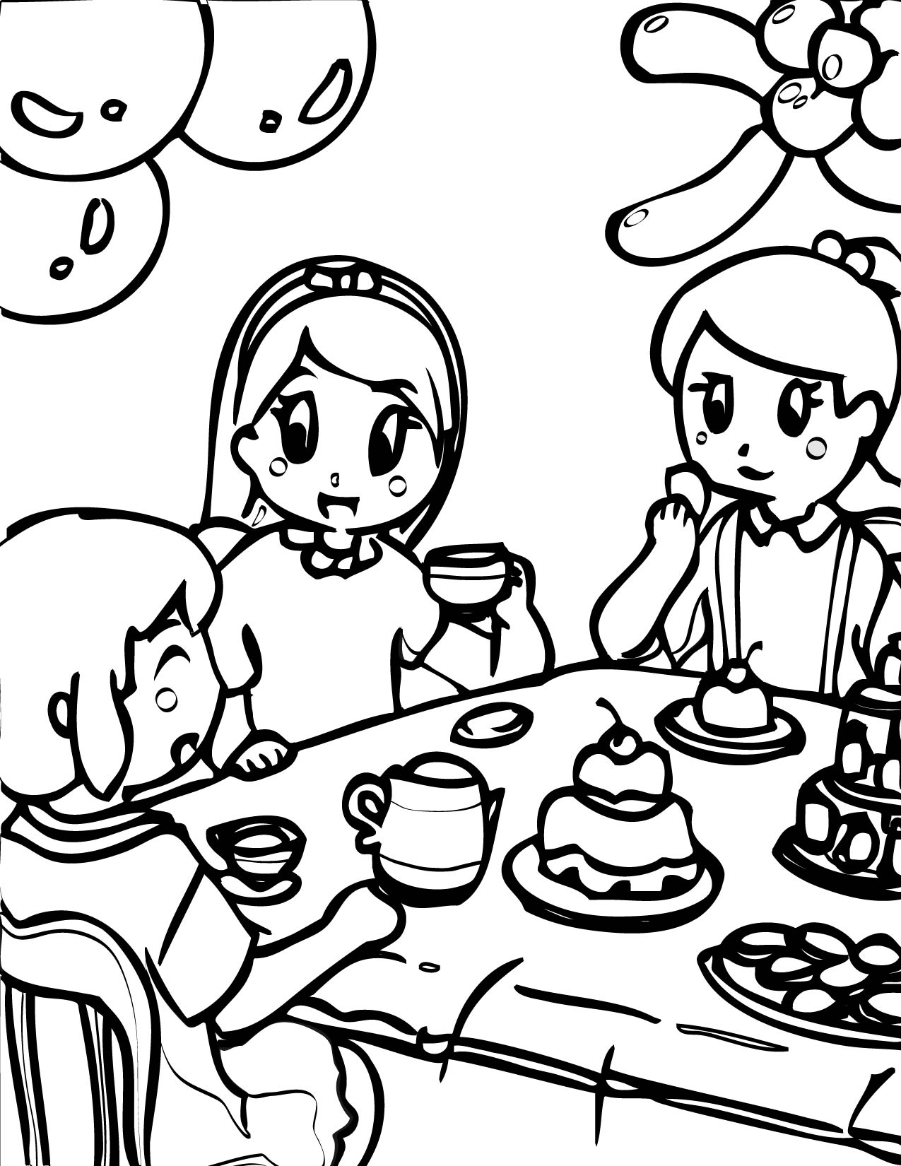 tea party colouring pages tea party coloring pages tea party colouring pages