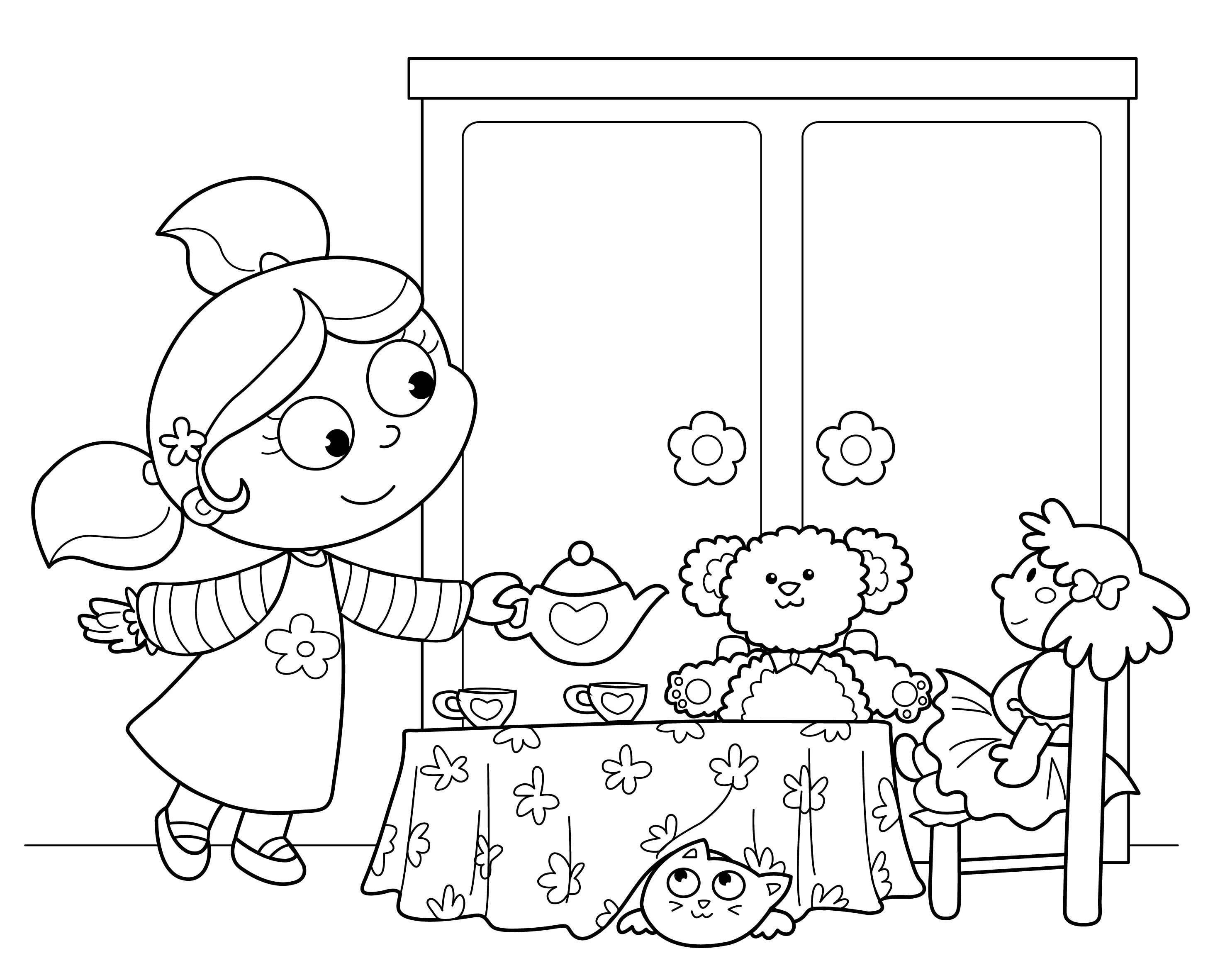 Tea party colouring pages