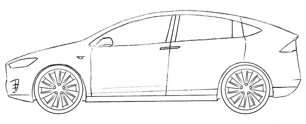 Tesla model x coloring page