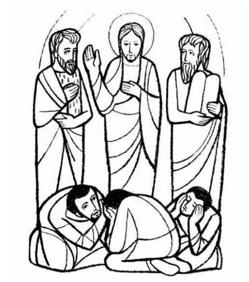 the transfiguration of jesus coloring page moses and elijah appeared before them talking with jesus of jesus transfiguration the page coloring