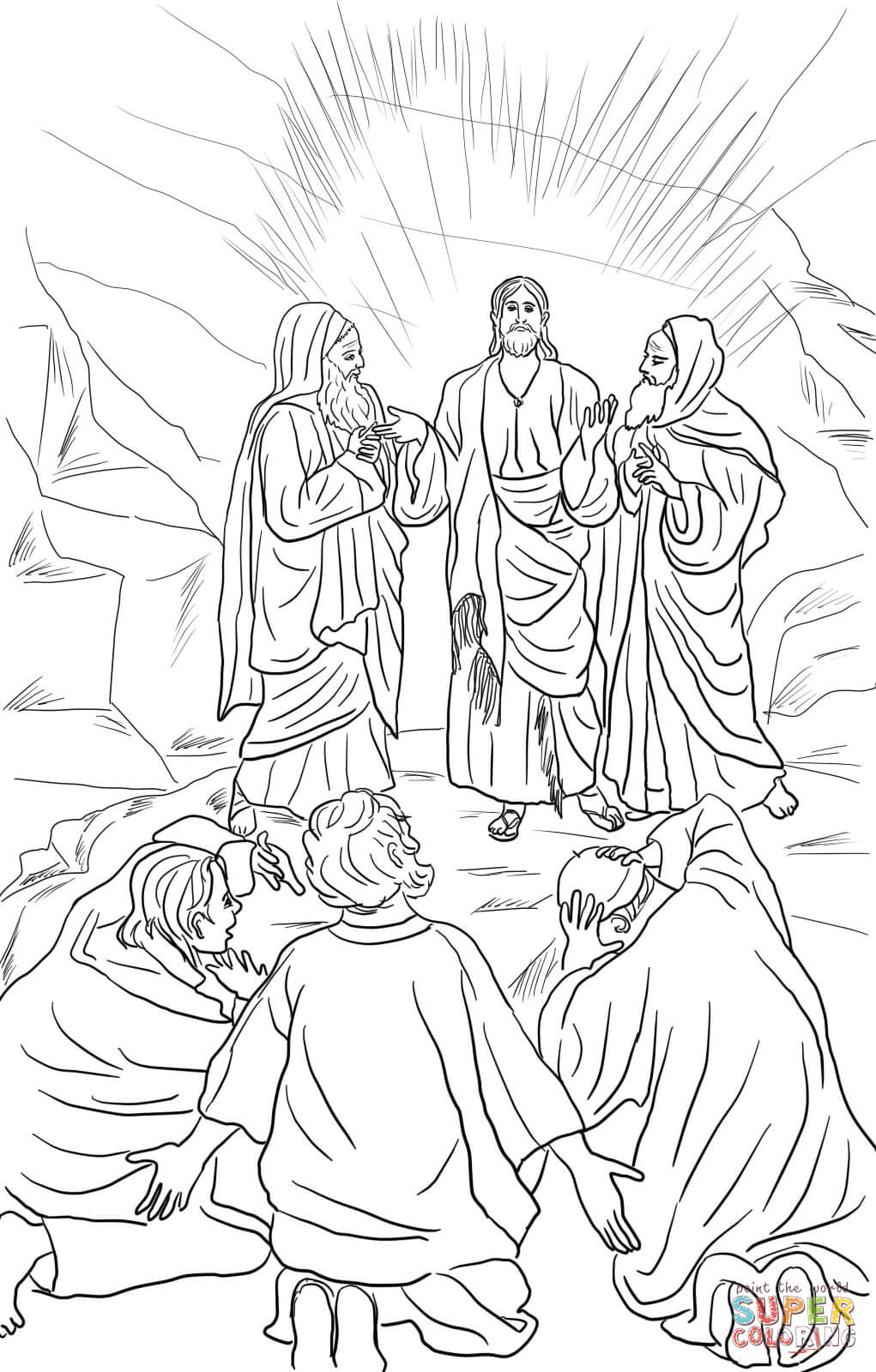 The transfiguration of jesus coloring page