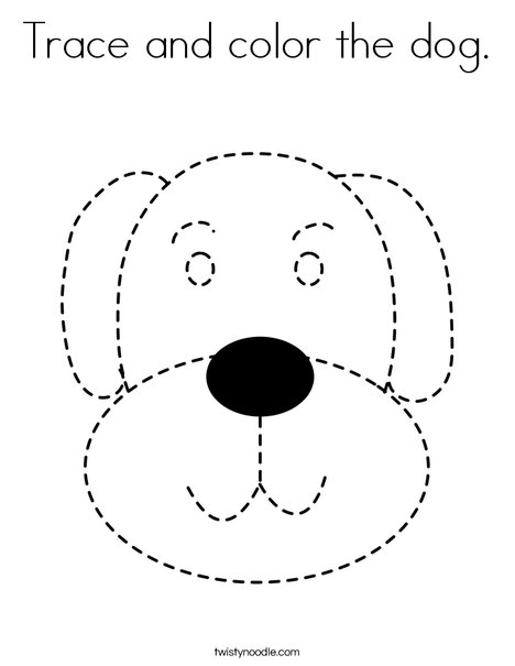 traceable dog pictures trace and color the dog coloring page  twisty noodle pictures dog traceable