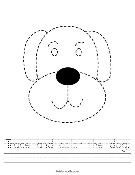 traceable dog pictures trace and color the dog worksheet  twisty noodle traceable dog pictures