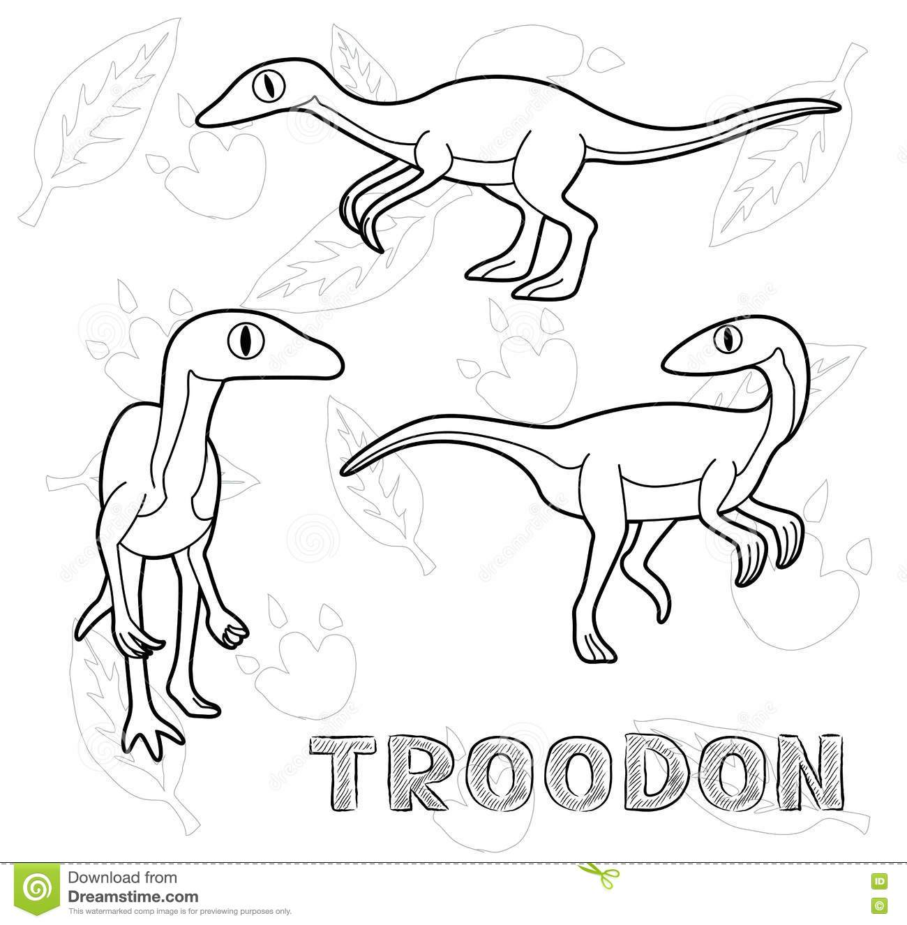 troodon coloring page dinosaur troodon cartoon vector illustration monochrome troodon page coloring