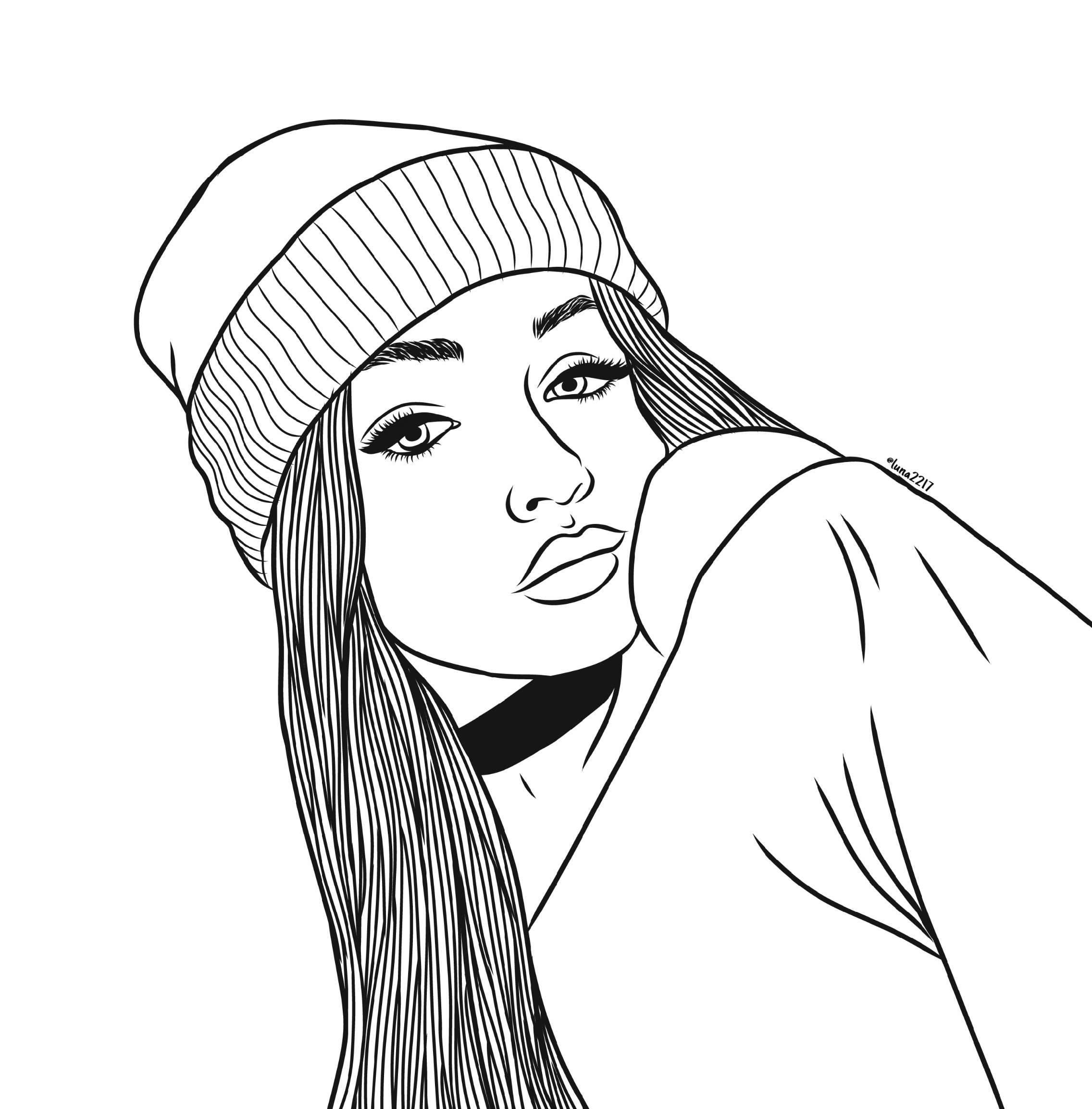 tumblr girl coloring pages outline outlines tumblr tumblrgirl draw drawing coloring tumblr pages girl