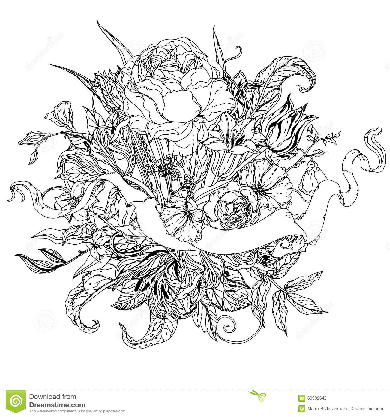 uncolored pictures of flowers still life with flowers stock vector image 69953610 uncolored flowers of pictures
