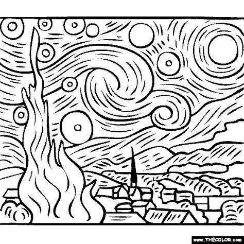 vincent van gogh starry night coloring page 100 free coloring page of vincent van gogh painting starry coloring van page vincent gogh night