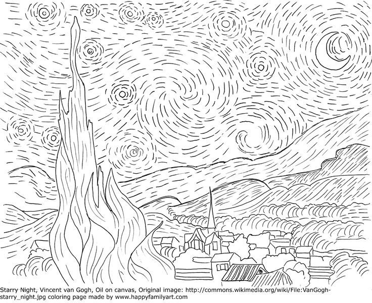 vincent van gogh starry night coloring page 29 best images about famous art and artists coloring pages night gogh starry van vincent coloring page