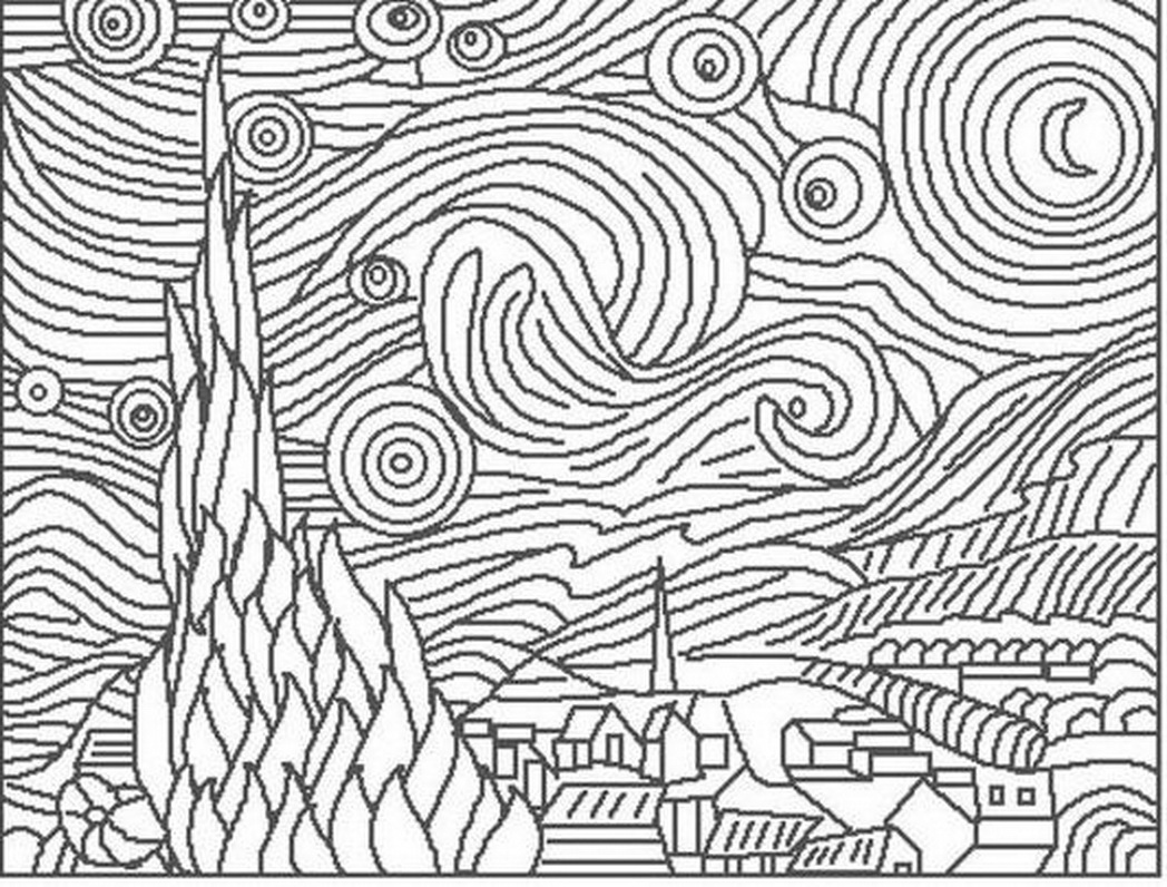 vincent van gogh starry night coloring page dibujos para colorear de vincent van gogh vincent coloring gogh night van page starry