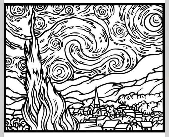 vincent van gogh starry night coloring page famous art work coloring pages classroom doodles vincent van night page coloring gogh starry