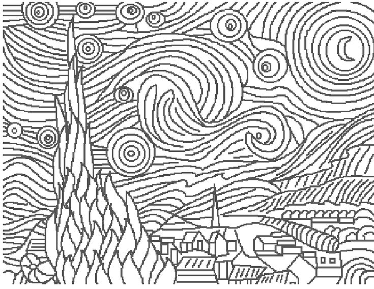vincent van gogh starry night coloring page great art coloring pages vincent van gogh starry night vincent starry van coloring page gogh