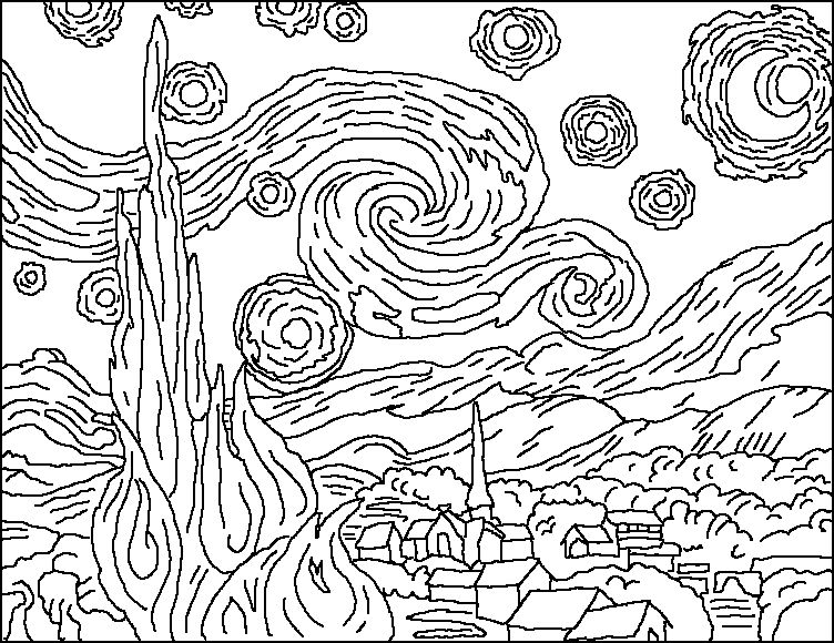 vincent van gogh starry night coloring page starring night kleurplaat van gogh starry coloring vincent night page