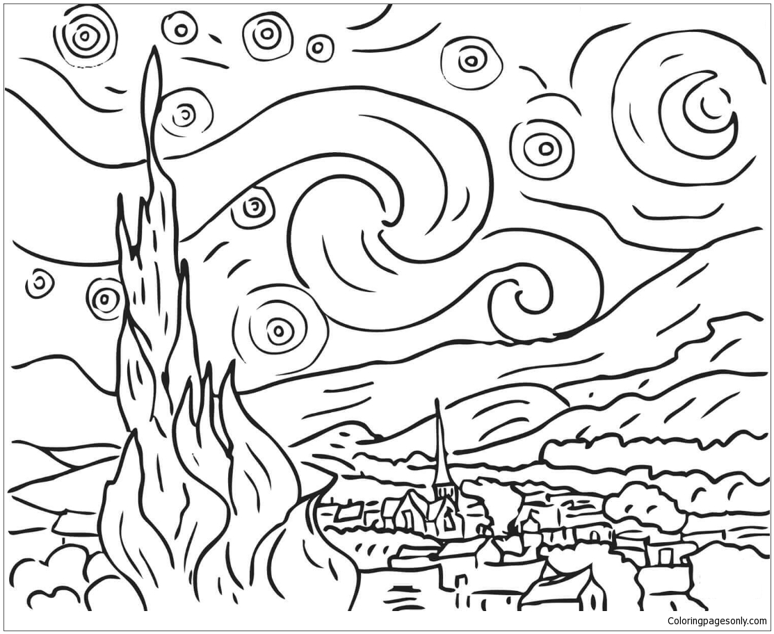 vincent van gogh starry night coloring page starry night by vincent van gogh coloring page free van gogh starry night coloring page vincent