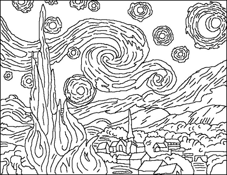 vincent van gogh starry night coloring page the starry night coloring page coloring home starry coloring page night gogh vincent van