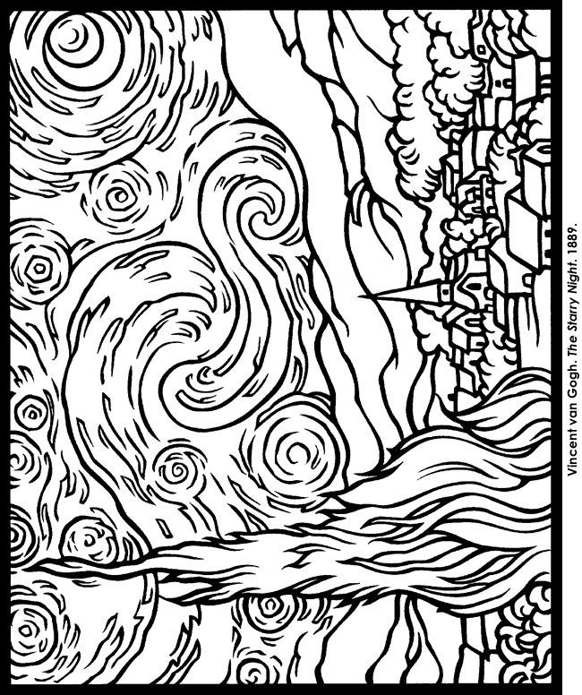 vincent van gogh starry night coloring page the starry night coloring page coloring home van vincent gogh night coloring page starry