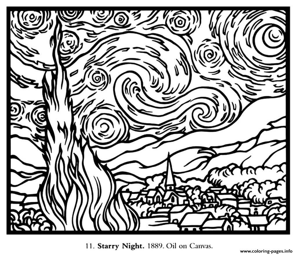 Vincent van gogh starry night coloring page