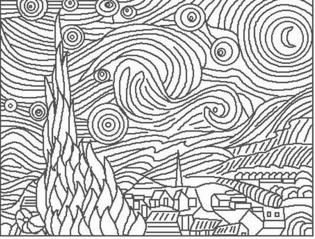 vincent van gogh starry night coloring page van gogh free coloring pages starry vincent page night gogh van coloring