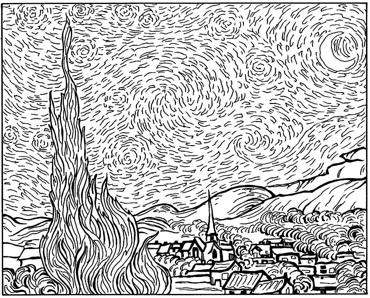 vincent van gogh starry night coloring page van gogh starry night coloring page starry night van page coloring van starry night gogh vincent