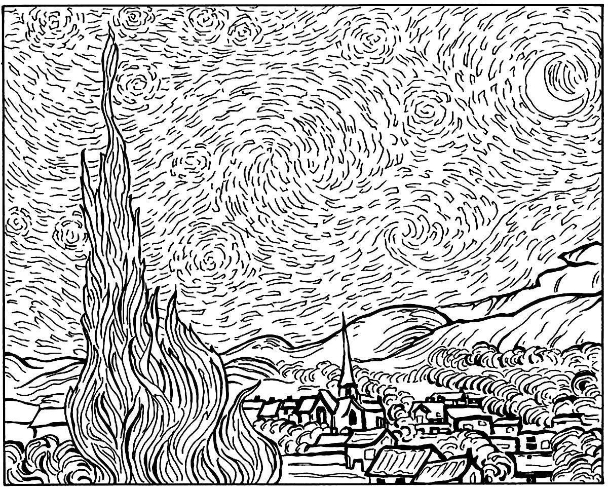 vincent van gogh starry night coloring page van gogh starry night masterpieces coloring pages for coloring starry gogh night van vincent page