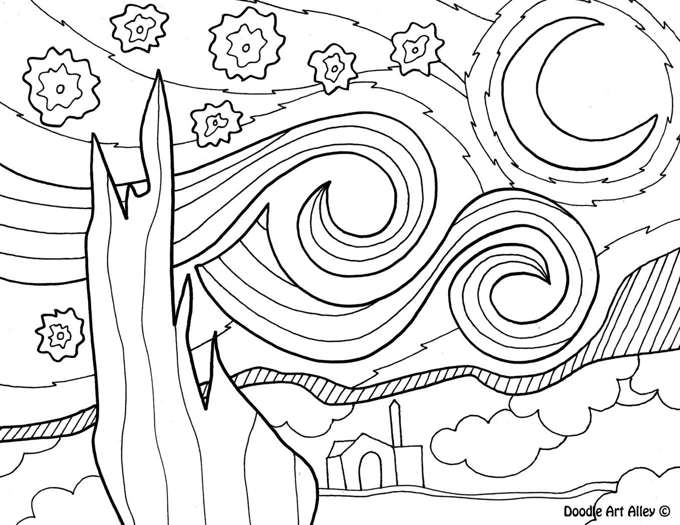 vincent van gogh starry night coloring page vangogh2jpg van gogh coloring famous art paintings van night gogh starry page coloring vincent