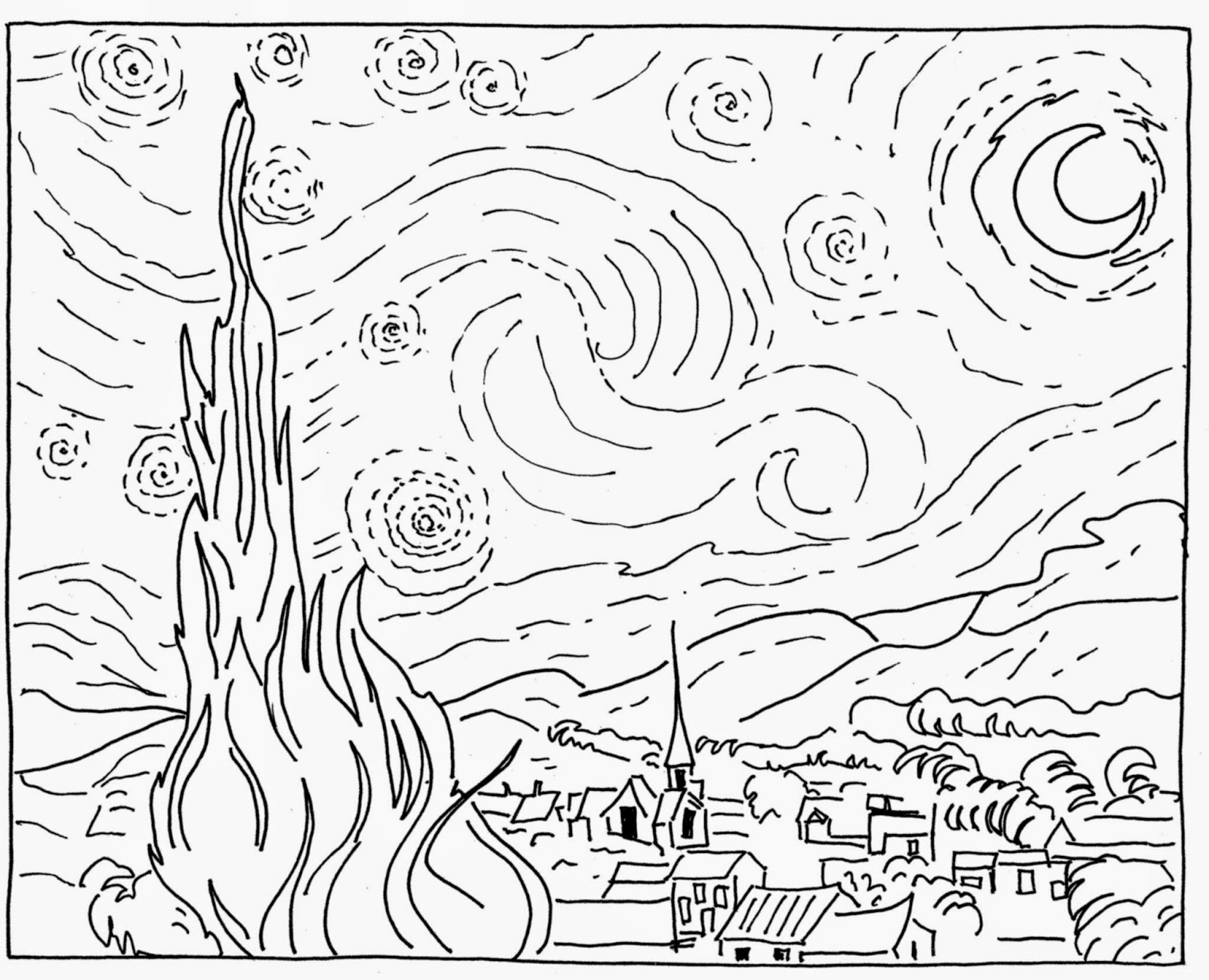 vincent van gogh starry night coloring page vincent van gogh starry night coloring sketch coloring page coloring starry van night gogh page vincent