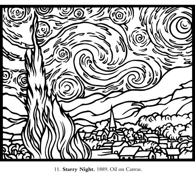 vincent van gogh starry night coloring page welcome to dover publications starry night van gogh van van coloring starry gogh vincent page night