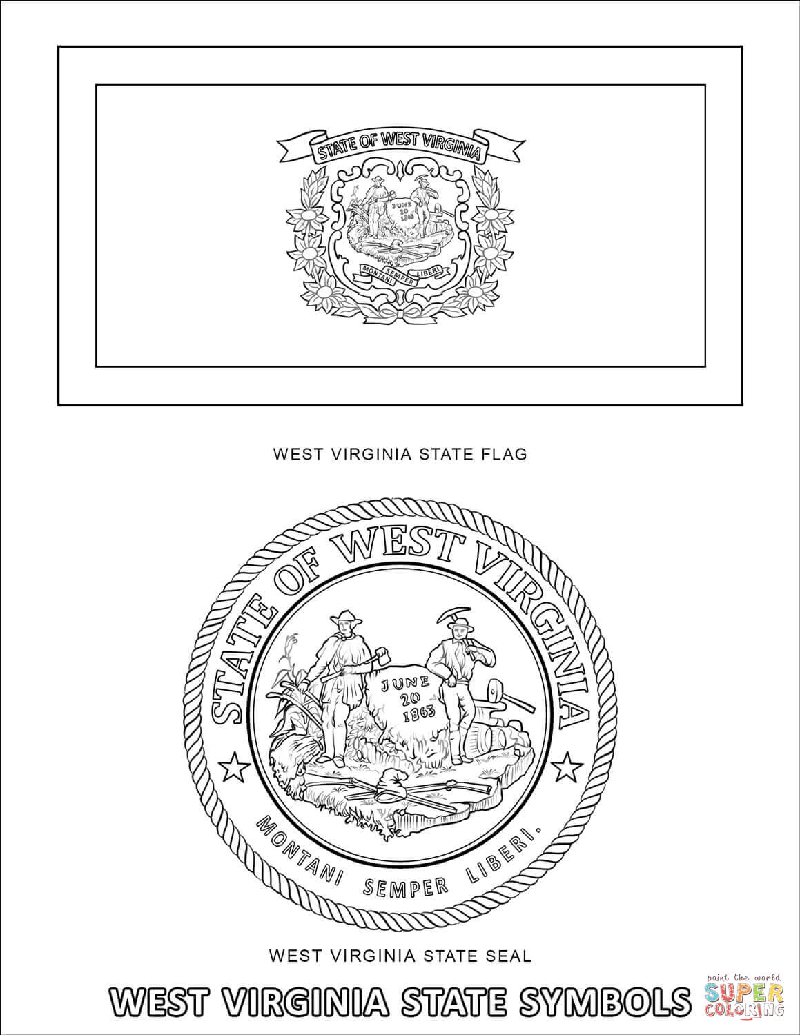 virginia state symbols coloring pages vermont state symbols coloring pages sketch template virginia state pages coloring symbols