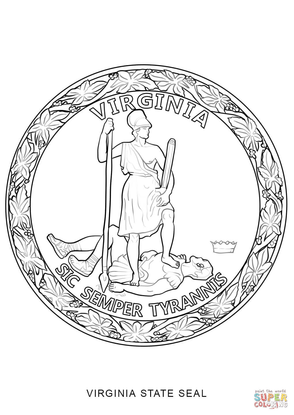 Virginia state symbols coloring pages