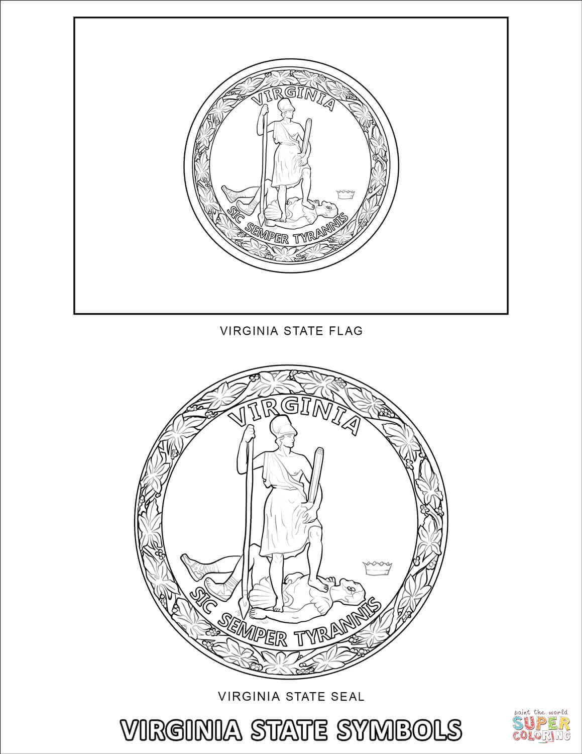 virginia state symbols coloring pages virginia state symbols coloring page free printable state coloring pages virginia symbols