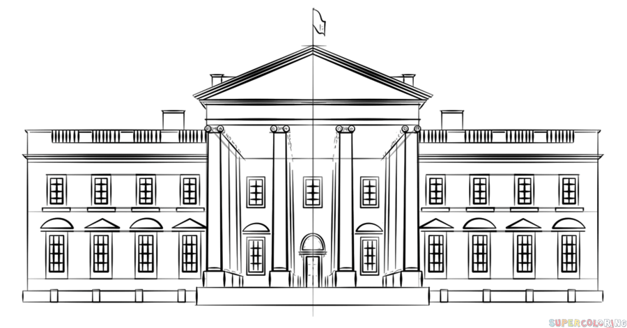white house sketch white house drawing pencil sketch colorful realistic house white sketch
