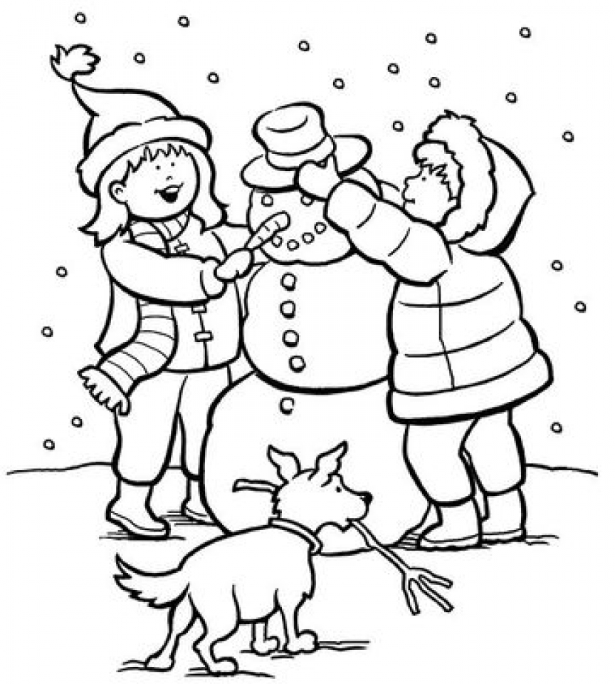 winter coloring pictures young little kid learning how to play ski on winter season pictures winter coloring