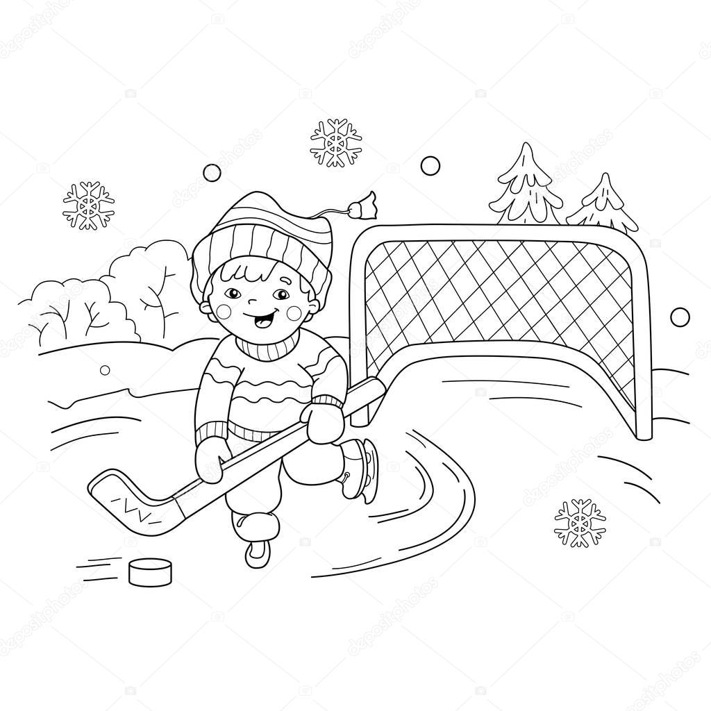 winter sports coloring pages coloring page outline of cartoon boy playing hockey pages sports winter coloring