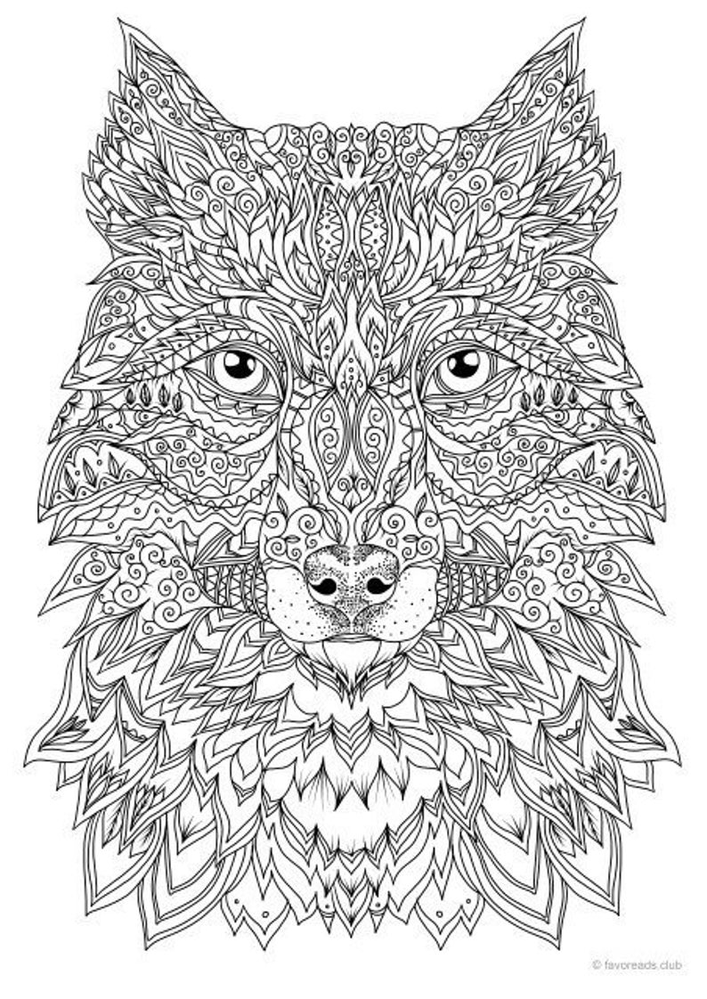 wolf pictures to colour fantasy wolf printable adult coloring page from favoreads wolf to pictures colour