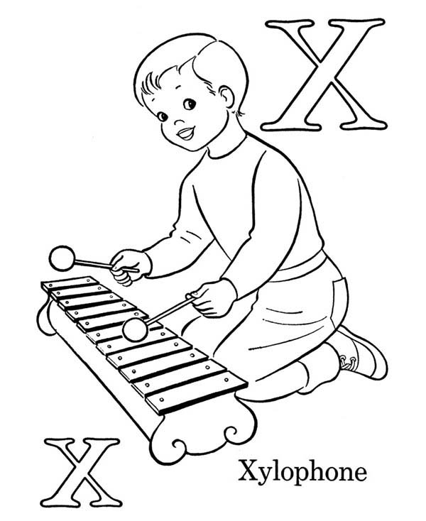 X is for xylophone coloring page