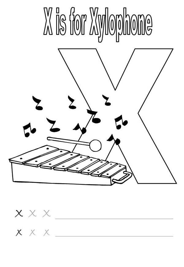 x is for xylophone coloring page x for xylophone coloring page with handwriting practice is coloring for x xylophone page