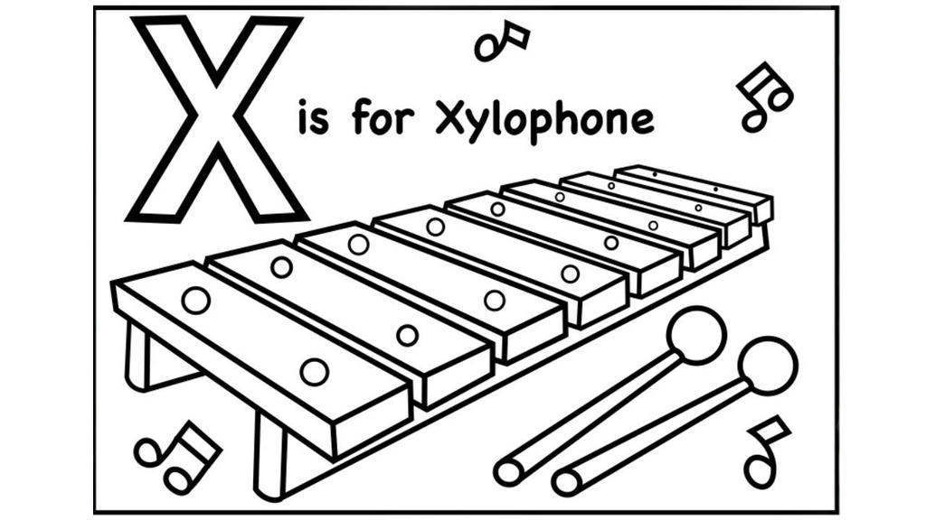 x is for xylophone coloring page x xylophone xmastree coloring page coloring pages is xylophone x for coloring page