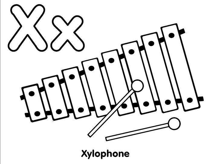 x is for xylophone coloring page xylophone coloring page alphabet letter x preschool xylophone coloring is page x for