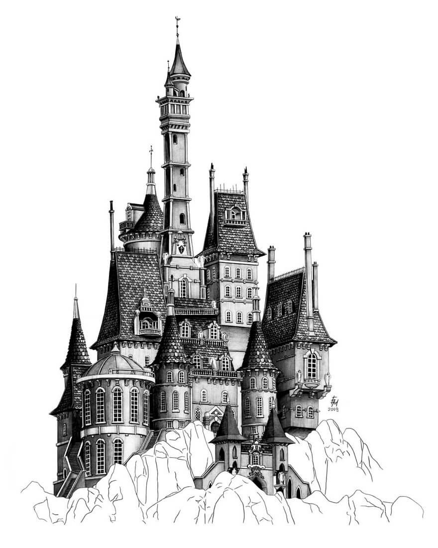 a castle drawing castle 004 vector draw sketch image for your diy project drawing castle a
