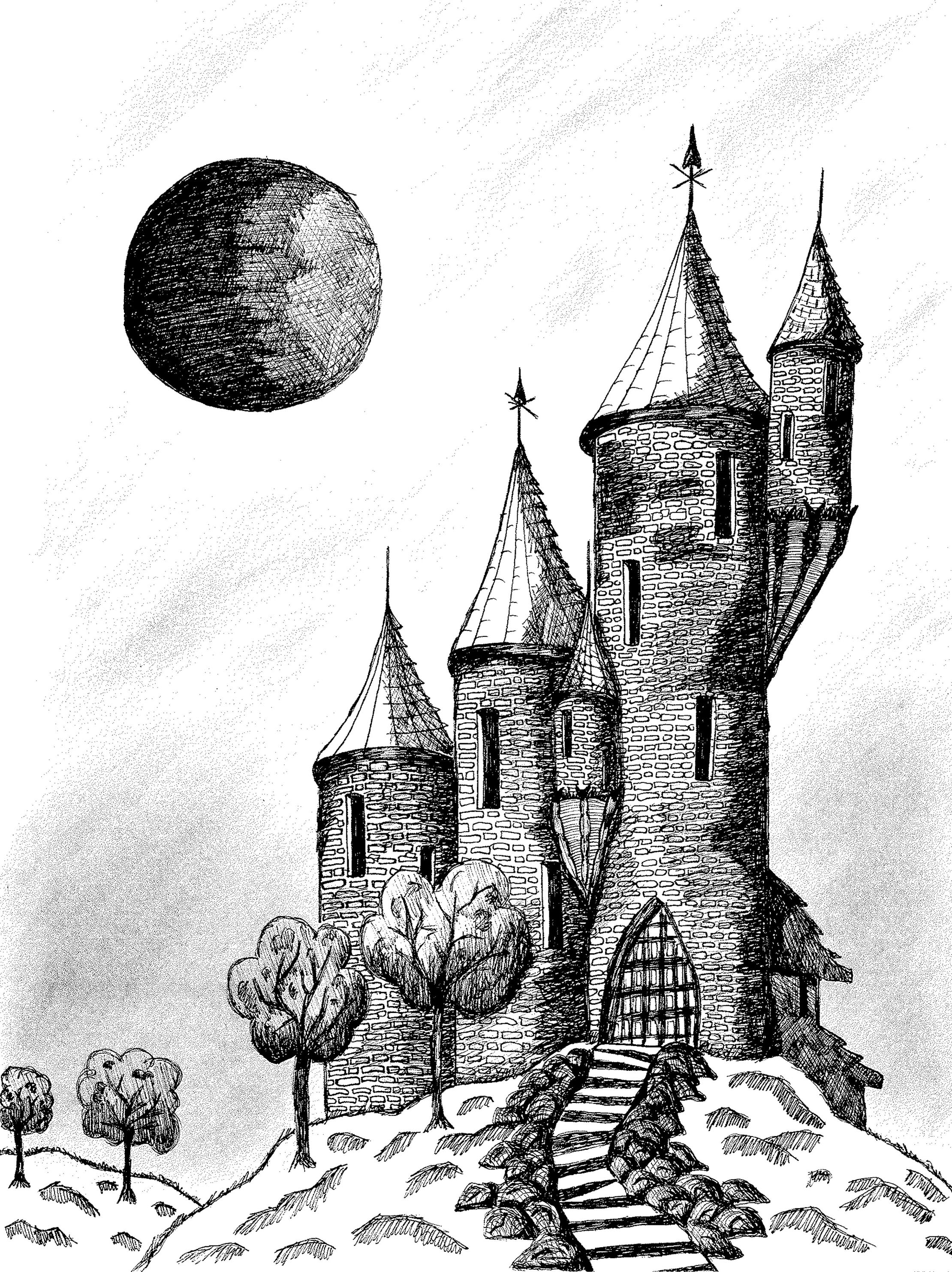 a castle drawing cinderella castle detailed ink drawing progress been castle drawing a