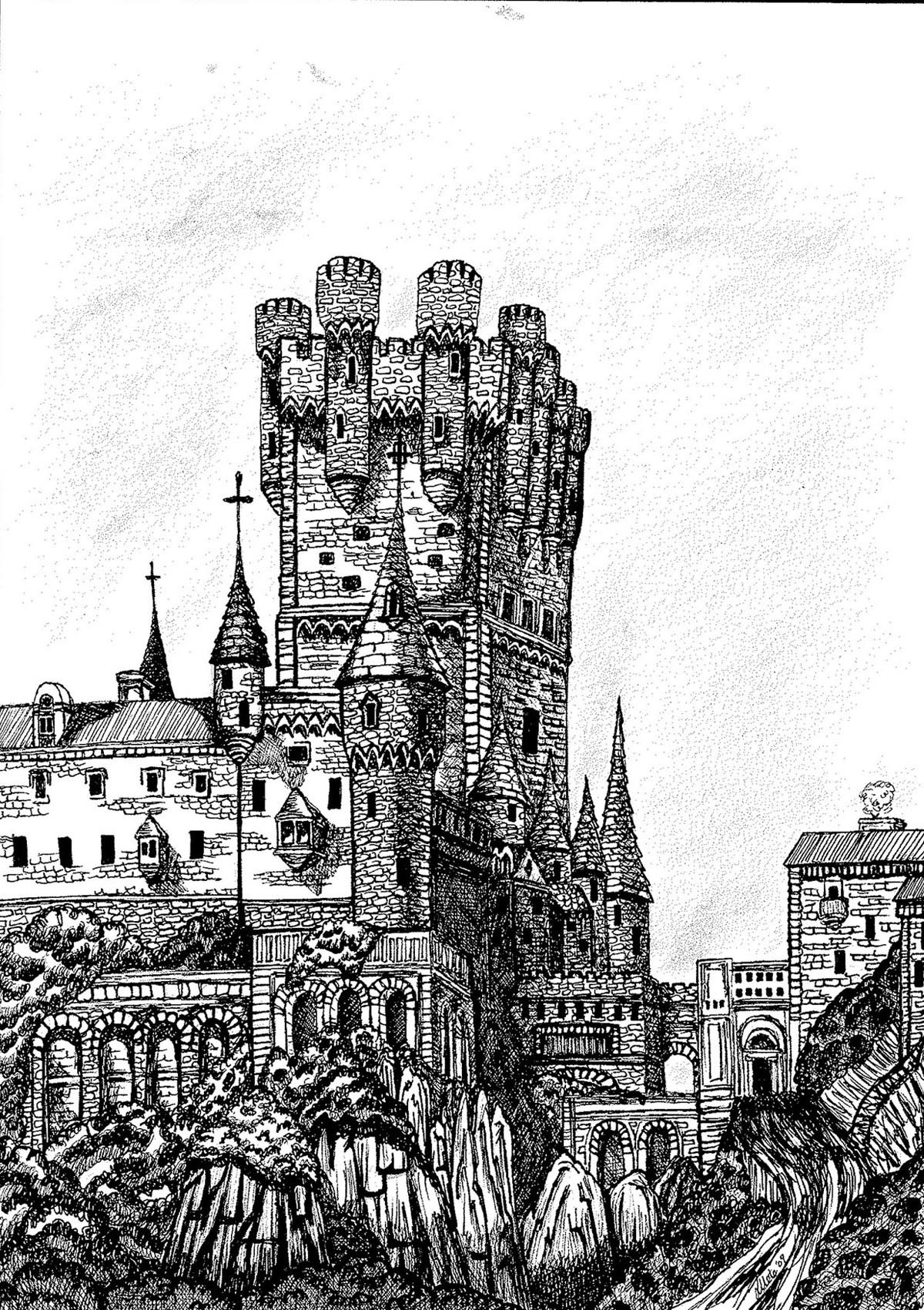 a castle drawing pencil drawings charcoal drawings and art galleries castle drawing a