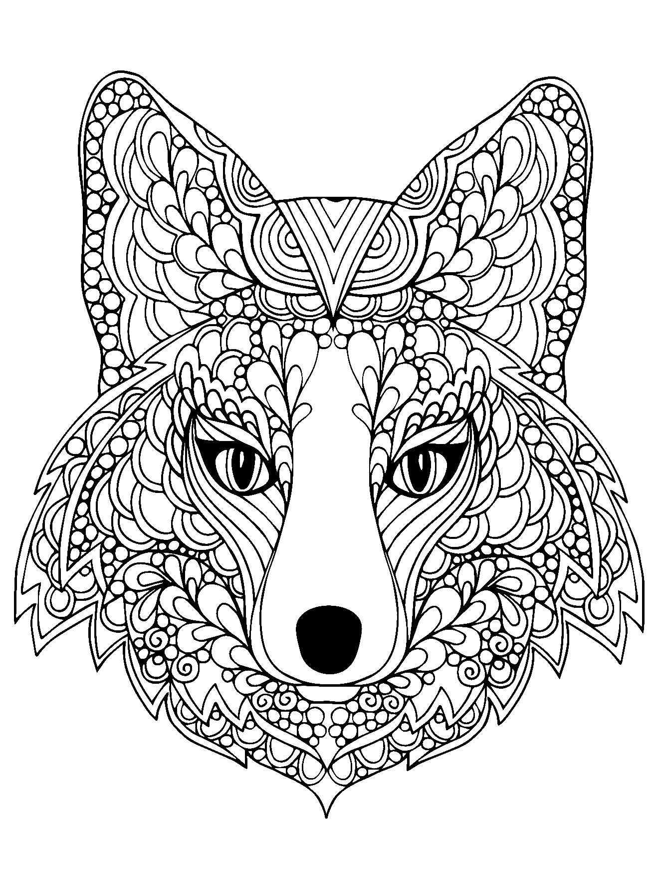 adult coloring pages animals beutiful fox head animals coloring pages for adults pages animals coloring adult