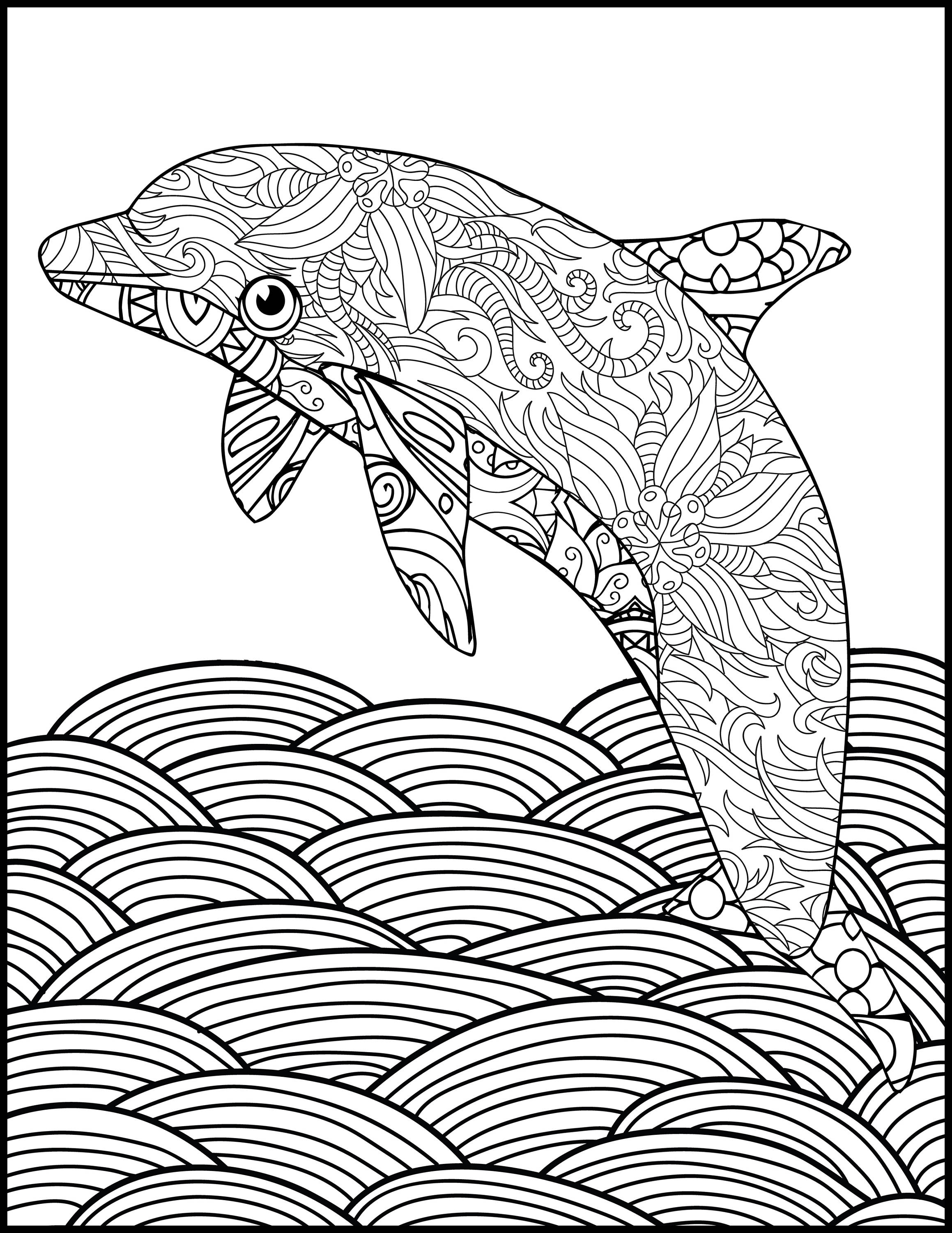 adult coloring pages animals printable coloring page adult coloring page dolphin etsy coloring animals adult pages