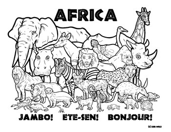 africa animals coloring pages africa wildlife coloring page by clark creative science pages animals africa coloring