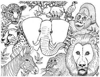 africa animals coloring pages african animals colouring page by suzanne munroe french coloring animals africa pages