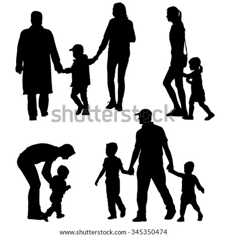 african american family silhouette black silhouettes family on white background vector silhouette family african american