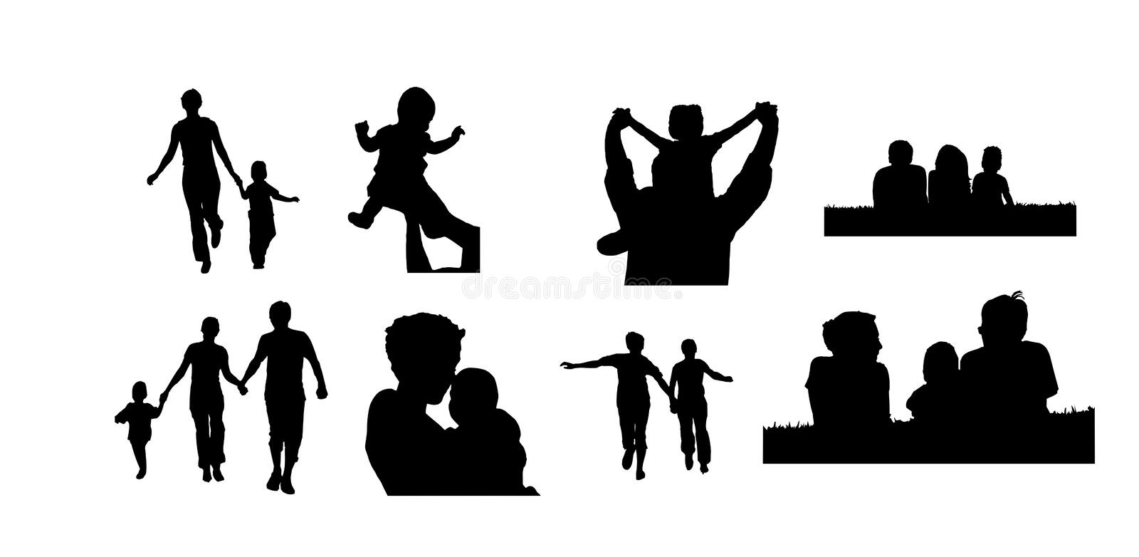 african american family silhouette vector illustration with family silhouettes stock vector american silhouette family african