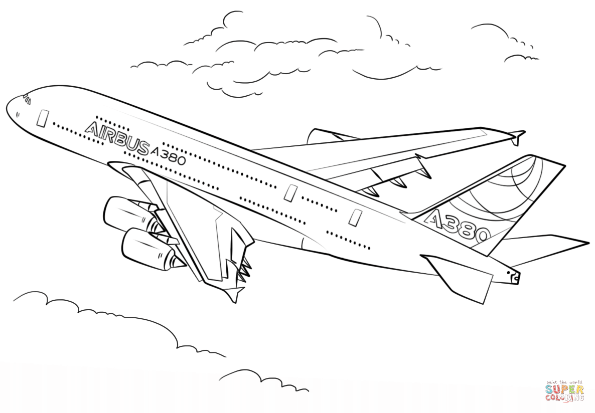 Airbus a380 coloring pages